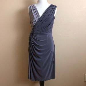 Adrianna Papell Knot Faux Wrap V-Neck Jersey Dress